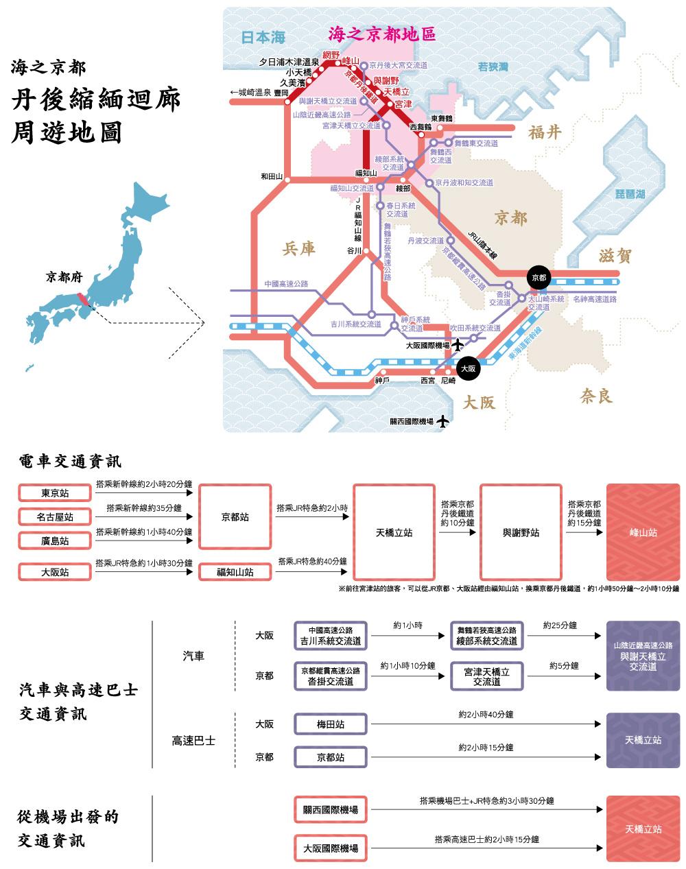 與海的京都丹後縐綢回廊相關的交通地圖